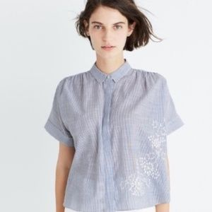 Madewell Hilltop Striped Pleated Button Up